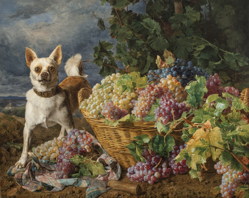 Ferdinand Georg Waldmüller, Dog Guarding a Basket of Grapes with a View of Heiligenstadt and the Danube in the Distance, 1836