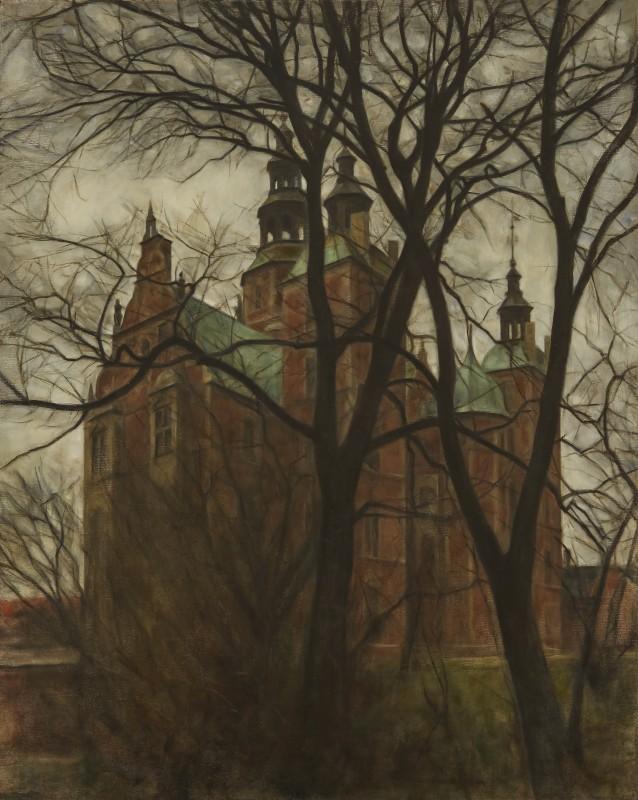 Svend Hammershøi , Rosenborg Castle Obscured by Trees