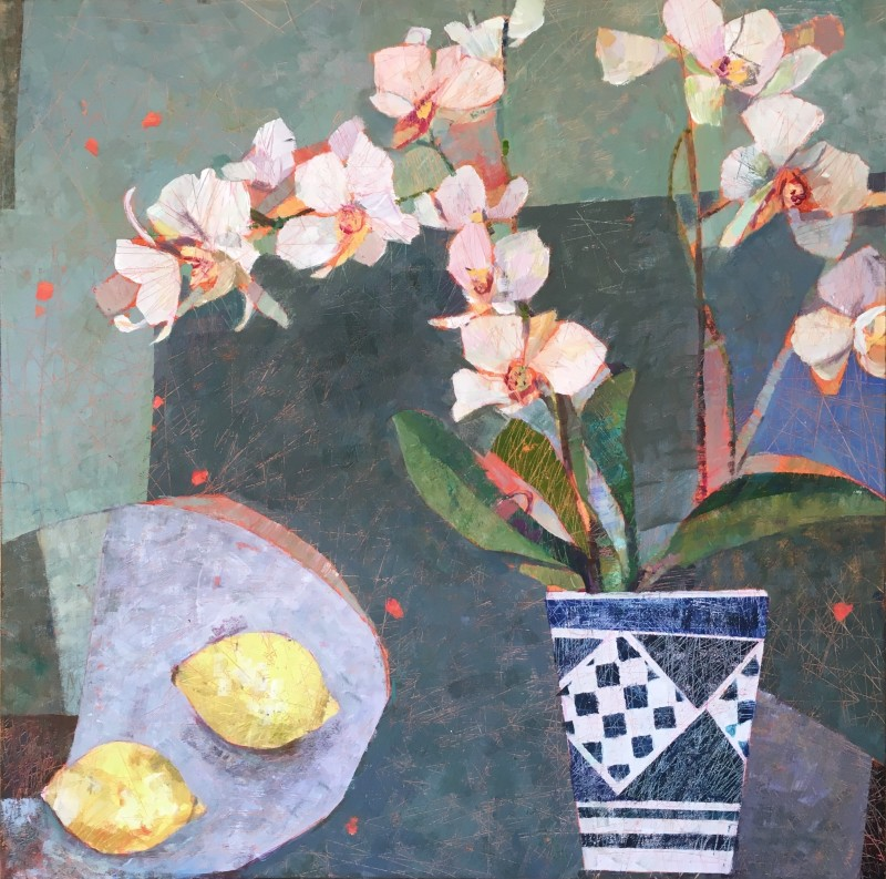 Sally Anne Fitter Orchid and lemons 30 x 30 ins £1,245 SOLD