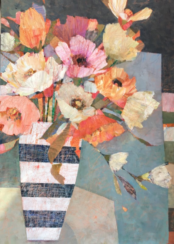 Sally Anne Fitter Sunset blooms 36 x 24 ins £1,585