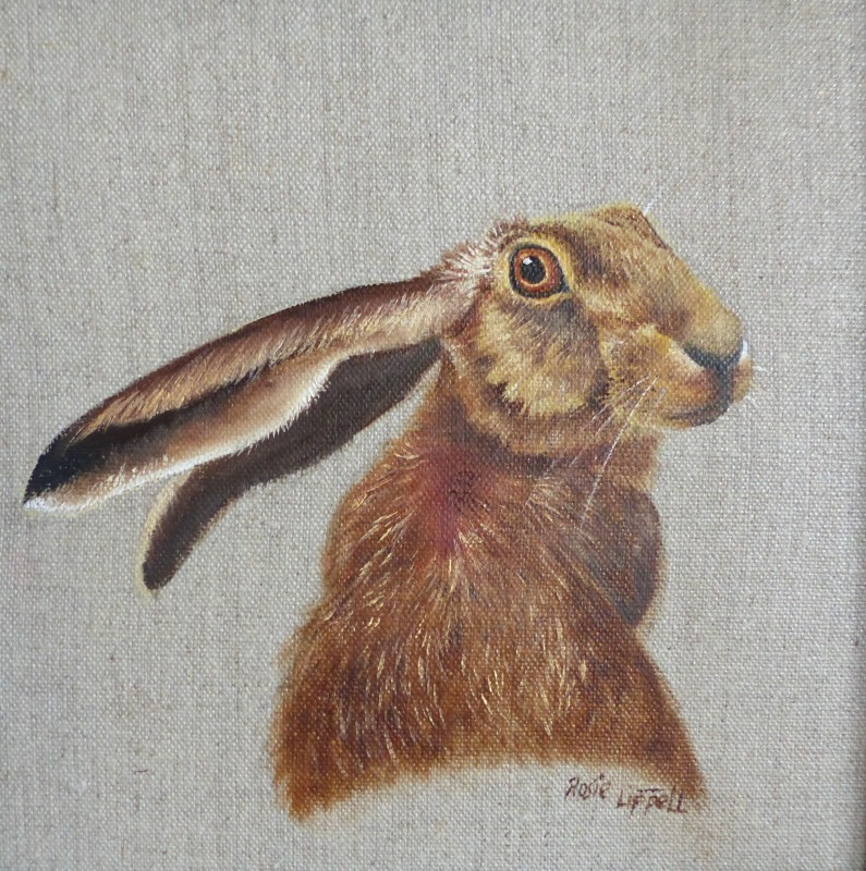 Rosie Lippett Hare to the right 8 x 8 ins £275