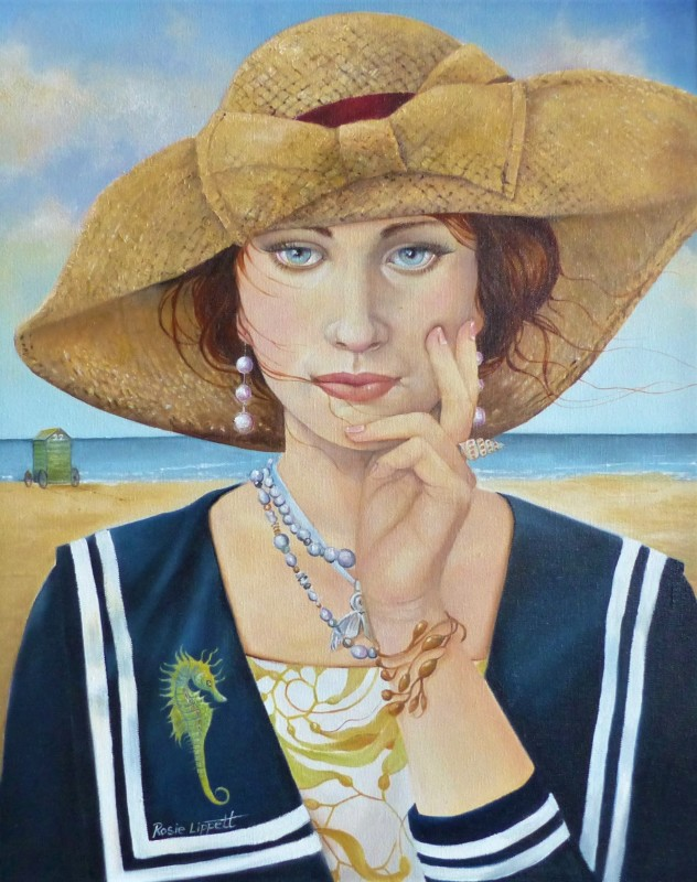 Rosie Lippett Marina 20 x 16 ins £1500 SOLD She is bedecked in her natural jewellery from the sea.