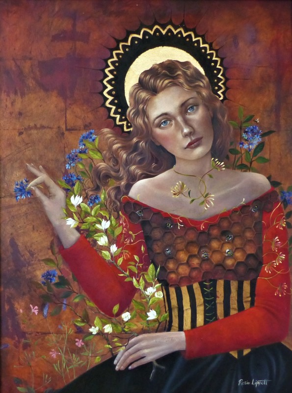 Rosie Lippett Queen Bee 32 x 24 ins £2950 SOLD Mother of all the bees in her hive and guardian of the honey.