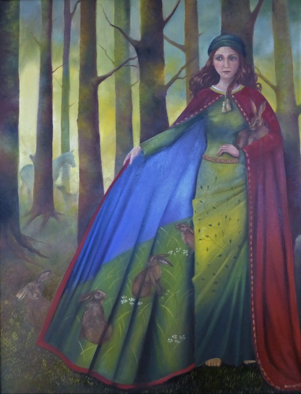 Rosie Lippett St. Melangell 36 x 28 ins £3500 St Melangell is the Patron Saint of Hares - a seventh century hermit originating from Ireland who lived in the Powys Valley. Brochwel, Prince of Powys met her whilst hunting hares. The hares took refuge under her cloak and the hounds fled. The prince declared the valley as a place of sanctuary.