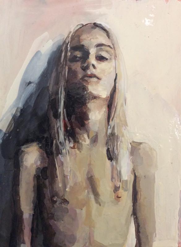 Geraldine Swayne, Long White Hair Topless Portrait