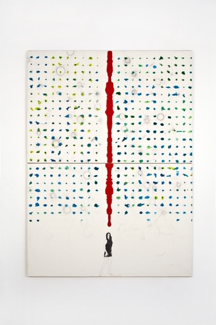 Alighiero Boetti Donnina 1990 Mixed media on canvas-backed paper, 200 x 150 cm