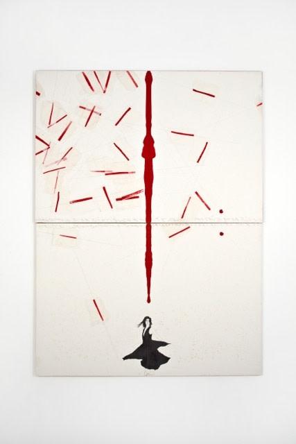 Alighiero Boetti Donnina 1990 Mixed media on canvas-backed paper, 200 x 150 cm