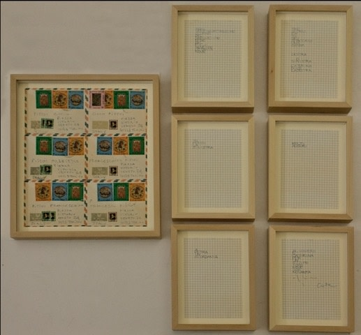 Alighiero Boetti Lavoro postale 1990 Envelopes with stamps and drawing on paper, 43.5x37 cm; 28 x 21 cm (6 artworks)