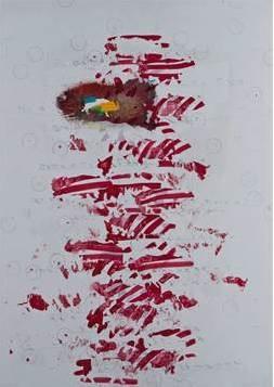 Alighiero Boetti Senza titolo (Il rinoceronte quasi estinto...) 1991 Mixed media on canvas-backed paper, 70 x 50 cm