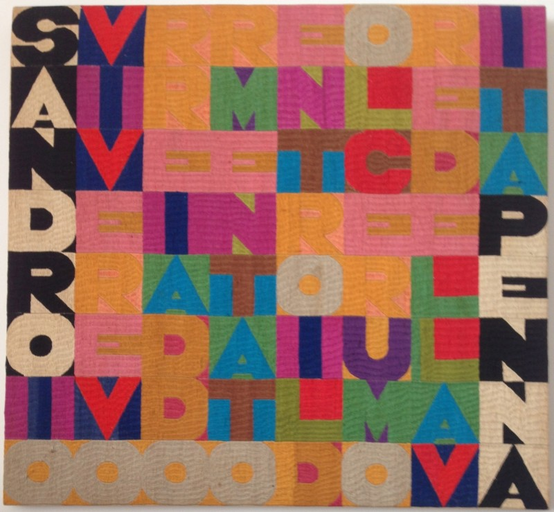 Alighiero Boetti Sandro Penna: io vivere vorrei addormentato entro il dolce rumore della vita 1977 Embroidery on fabric, 58 x 62 cm