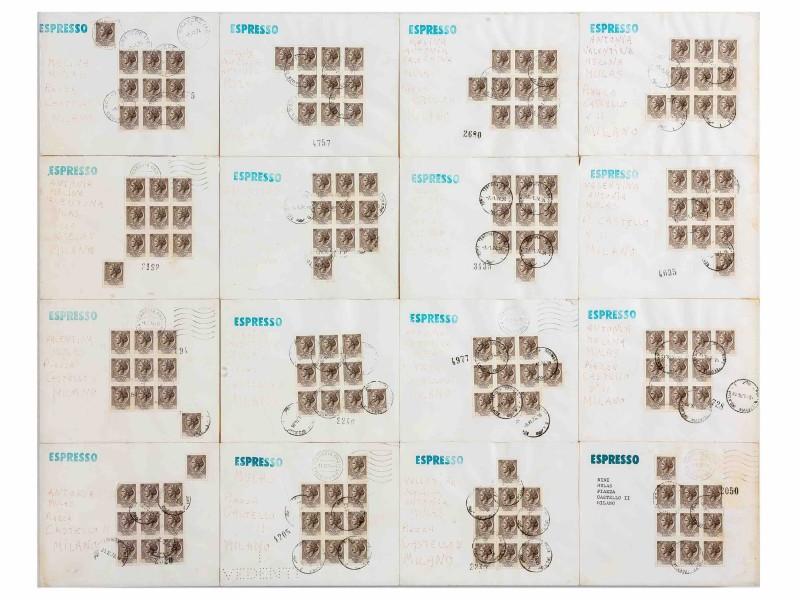 Alighiero Boetti Lavoro postale (Per Nini, Melina, Valentina Mulas) 1973-74 Stamped envelopes including dry I SEE stamp, ink and pencil 49 x 62 cm