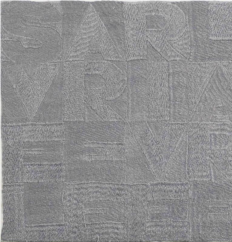 Alighiero Boetti Svelare e rivelare 1992 Embroidery on fabric, 22 x 23 cm