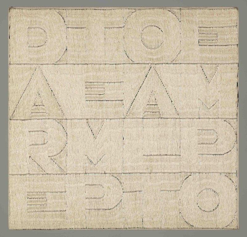 Alighiero Boetti Dare tempo al tempo 1979 Embroidery on fabric, 24 x 24.5 cm