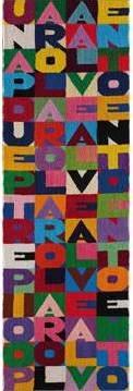 Alighiero Boetti Una parola al vento... 1989 Embroidery on fabric, 82.7 x 26 cm