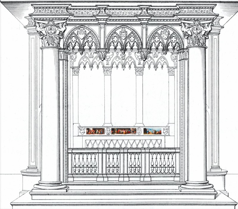 Reconstruction of the papal high altar, based on Giuseppe Bianchi's engraving (1832): three of the five panels are visible in the front of the predella.