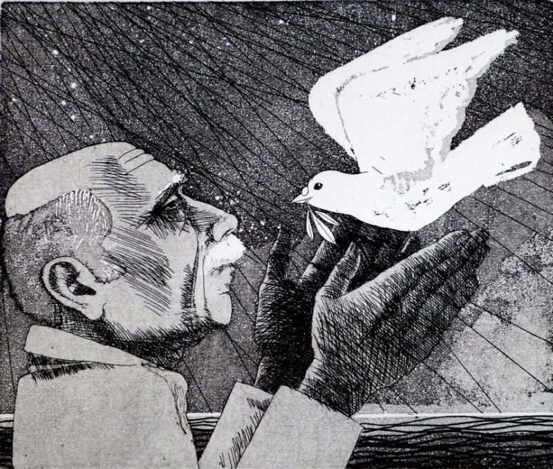 Frans Wesselman RE, Man, Dove, Olive branch