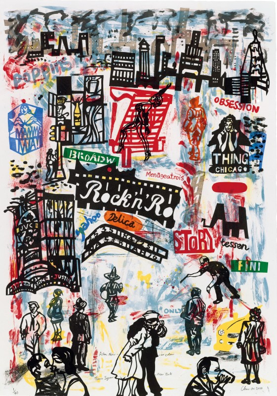 Chris Orr RA RE, Film Noir in Colour, Times Square, New York