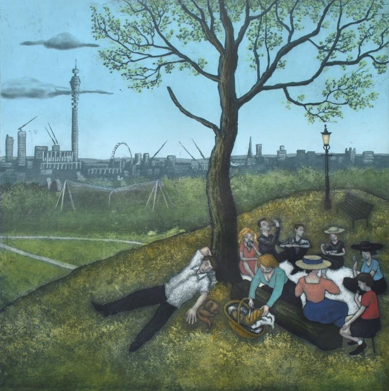 Mychael Barratt PPRE Hon RWS, Primrose Hill - Summer, after Bruegel