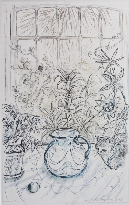 Richard Bawden RWS RE, The Conservatory in Lockdown 2