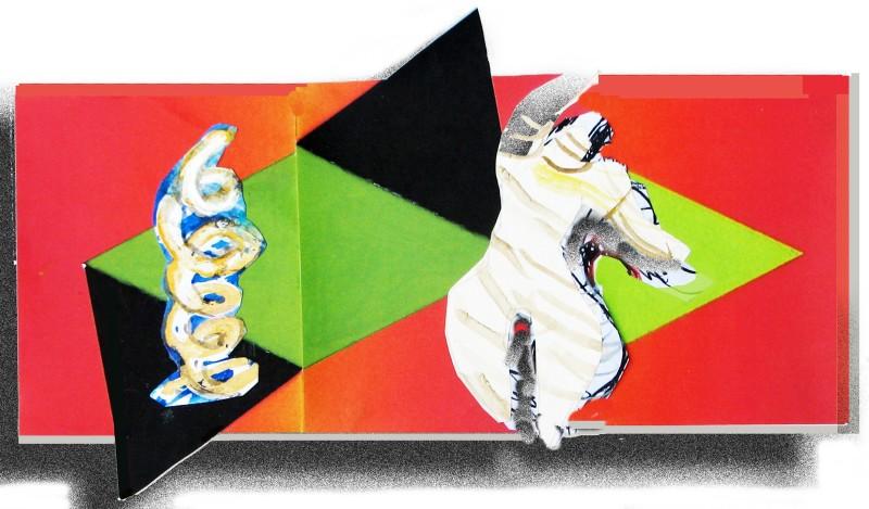 Clown and Twirl Geometric with Down Shadow