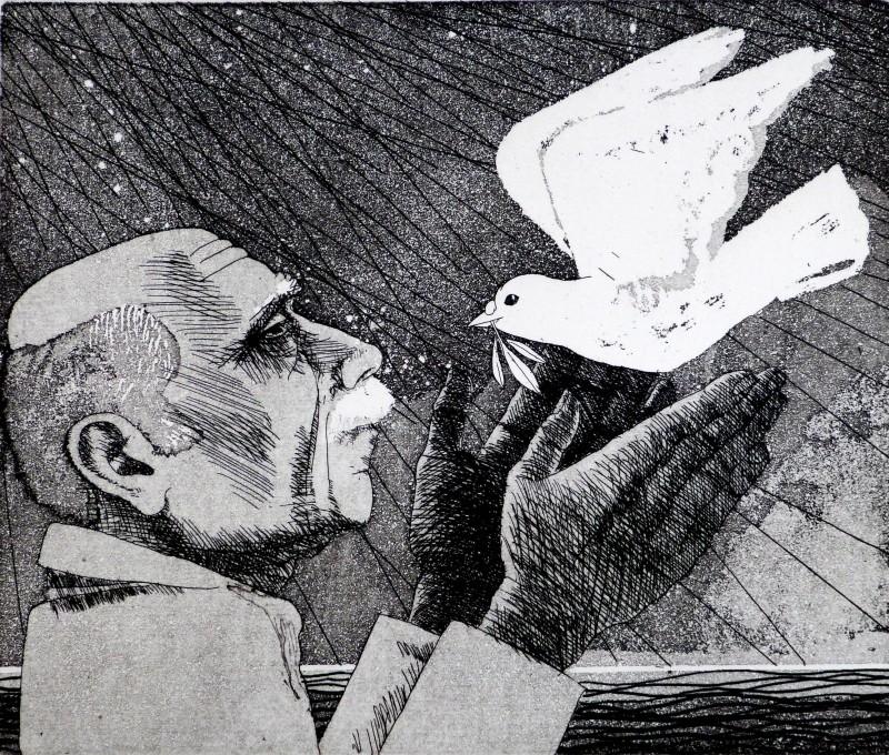 Frans Wesselman RE, Man, Dove, Olive Branch II
