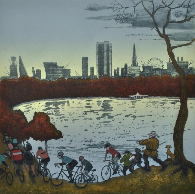 Mychael Barratt PPRE Hon RWS, The Serpentine, Hyde Park - Autumn, after Bruegel