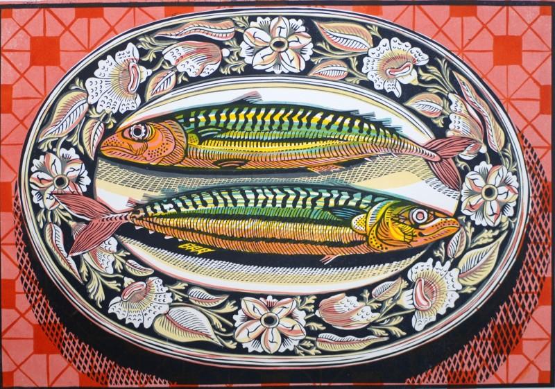 Richard Bawden RWS RE, Two Mackerel