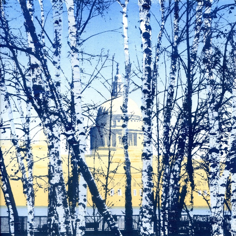 Janet Brooke RE, St Pauls through the Trees