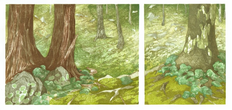 Laura Boswell ARE, Kokedera Moss Temple, Kyoto (diptych)