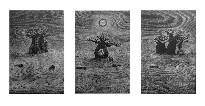 Ade Adesina ARE, Beyond the Line (Triptych)