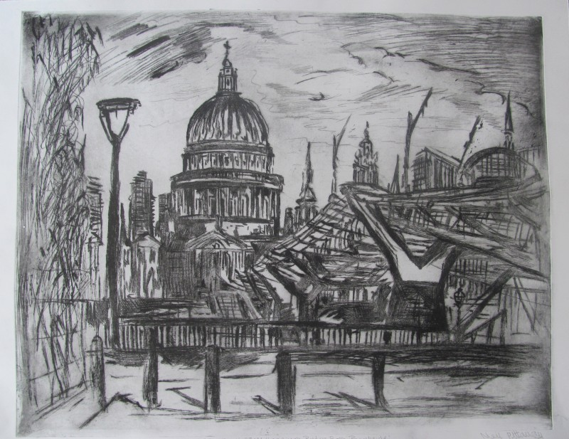 Neil Pittaway RWS RE, St Paul's and the Millenium Bridge from Bankside