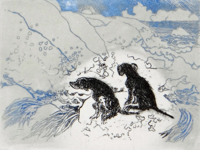 Rosamund Jones RE, Dogs on a Rock