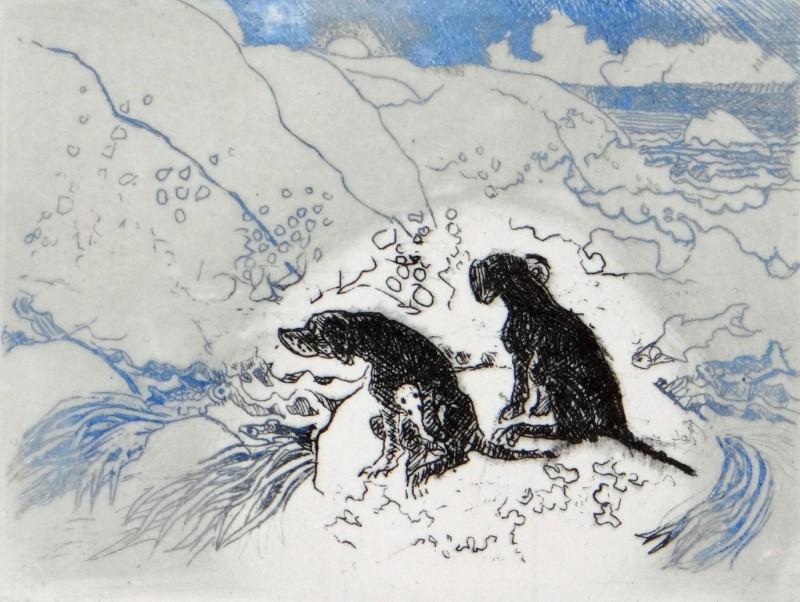 Rosamund Jones RE, Dogs on a Rock