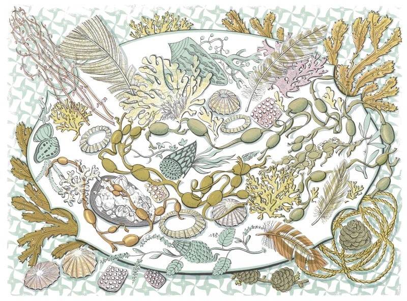 Angie Lewin RWS RE, Shell, Seaweed and Feather