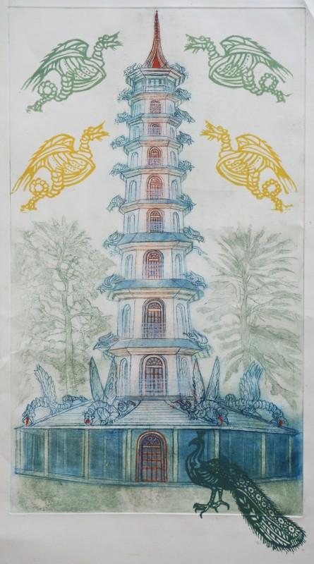 Richard Bawden RWS RE, The Great Pagoda, Kew Gardens
