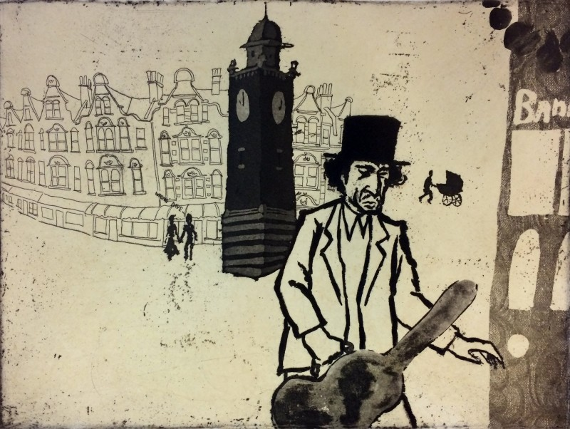 Mychael Barratt PPRE Hon RWS, Urban Myths IX - Bob Dylan lost in Crouch End