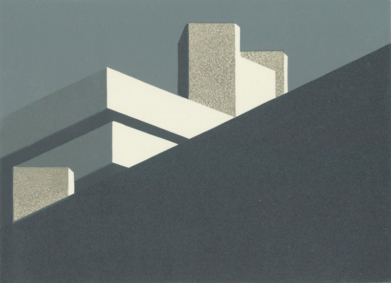 Paul Catherall RE National Grey, linocut