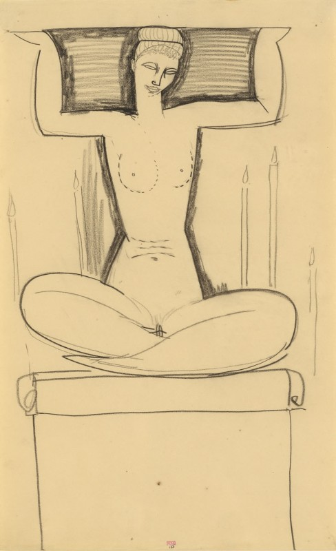 Amedeo Modigliani 'Caryatid Seated on Plinth with Lighted Candles' c.1911