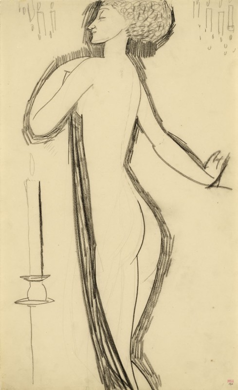 'Standing Nude in Profile with Lighted Candle' c.1911