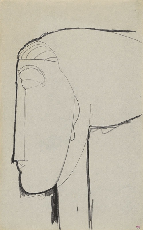 Amedeo Modigliani 'Head in Left Profile with Chignon [recto] c.1911