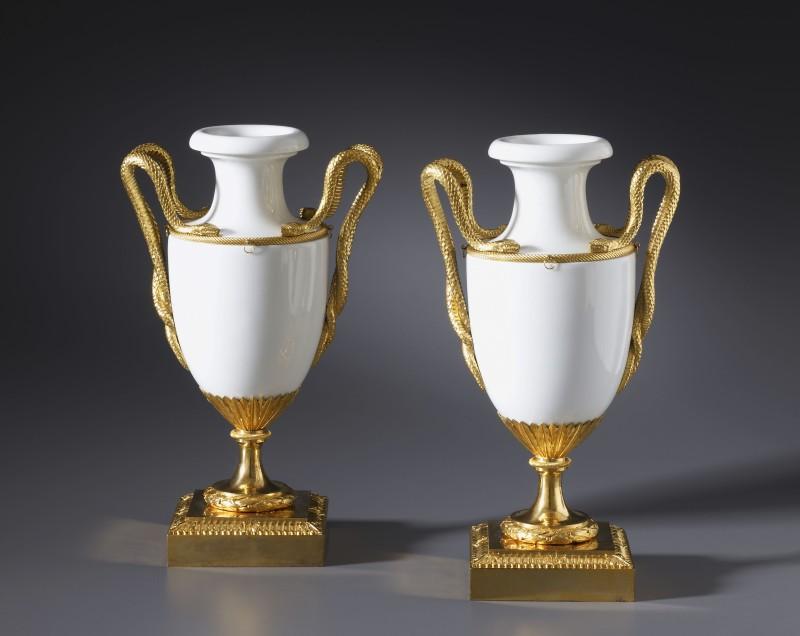 A pair of Louis XVI vases by Locré, Fabrique de la Courtille, Paris, date circa 1780