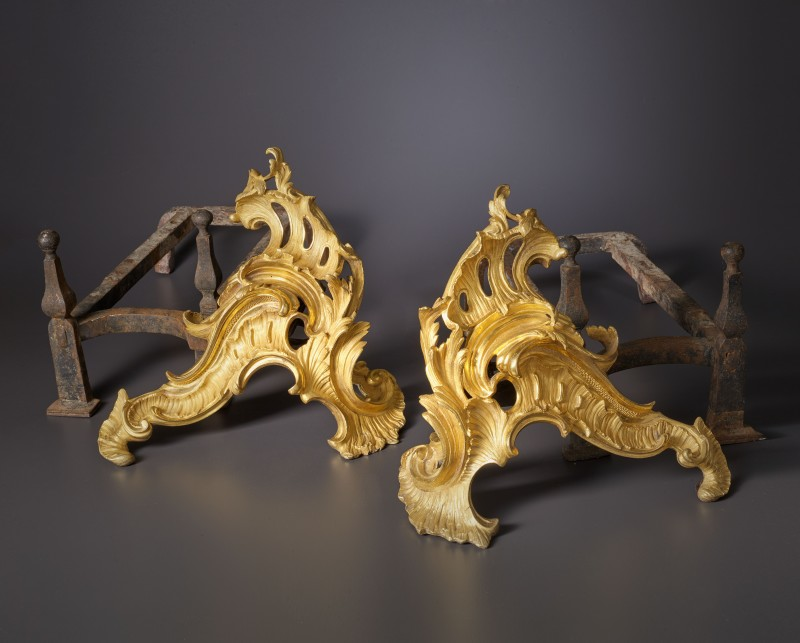 A pair of Louis XV chenets, Paris, date circa 1745