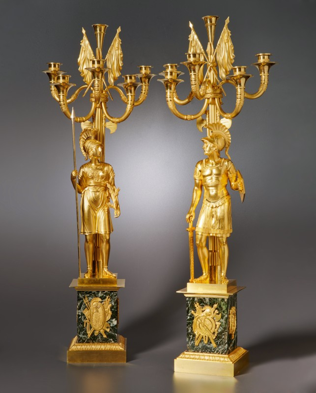 A pair of Empire six-light candelabra attributed to Claude Galle or his son Gérard-Jean Galle, Paris, date circa 1815