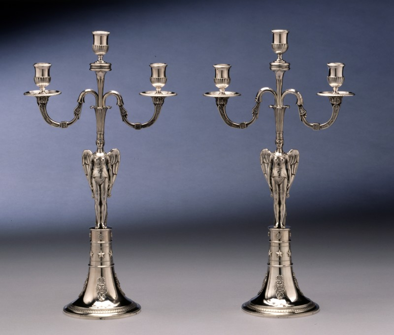 A pair of Empire three light candelabra by Abel-Etienne Giroux, Paris, date circa 1805