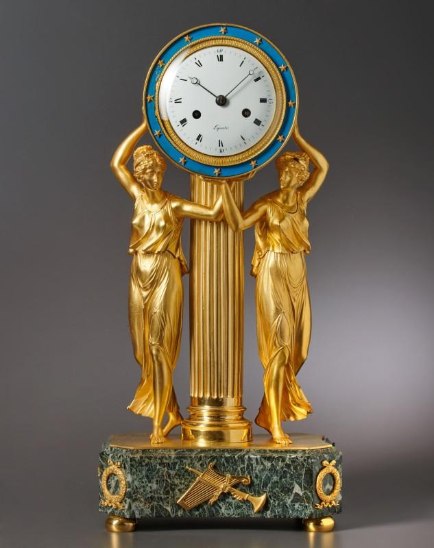 An Empire gilt bronze figural clock by Lepaute, Paris, date circa 1810