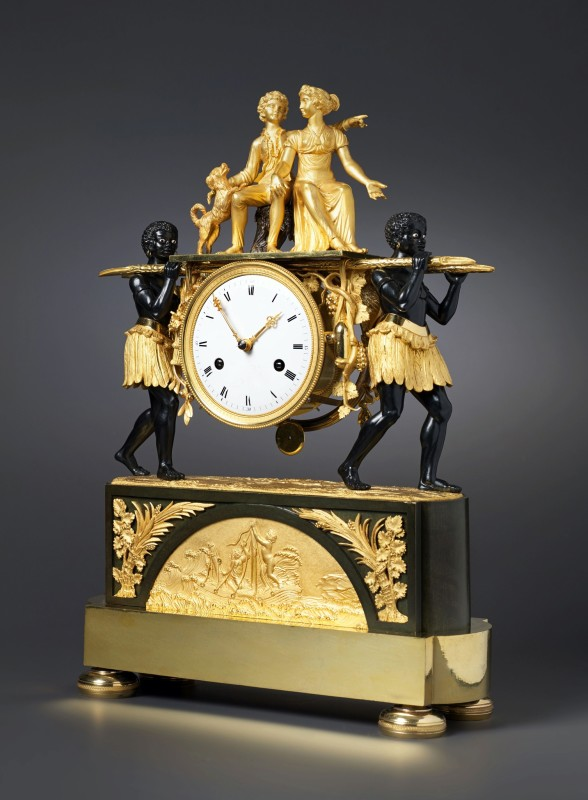 An Empire mantel clock of eight day duration depicting Paul and Virginie, Paris, date circa 1800-05