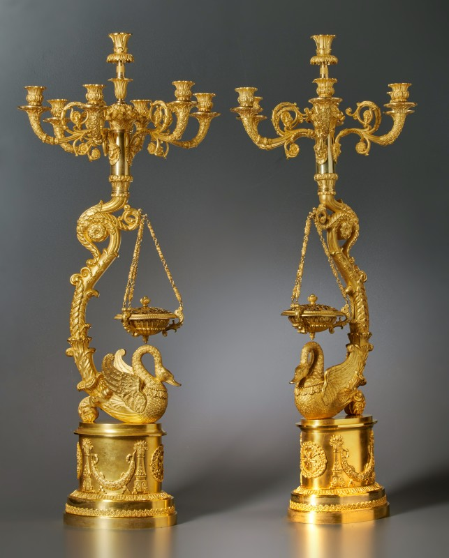A pair of Empire seven-light candelabra with brûle-parfums attributed to Pierre-Philippe Thomire, Paris, date circa 1815-20