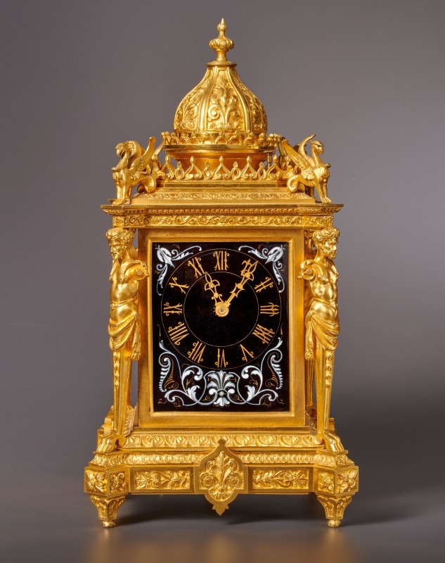 A Napoleon III musical mantel clock with grande and petite sonnerie of eight day duration by Louis Fernier, Paris, date circa 1870