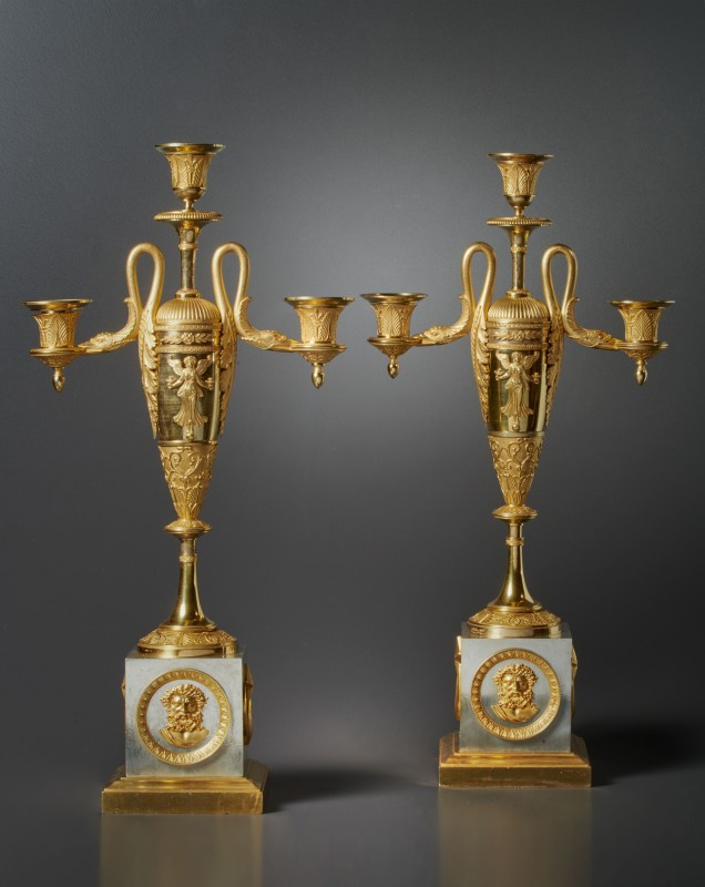 A pair of Empire three-light candelabra attributed to Claude Galle, Paris, date circa 1805