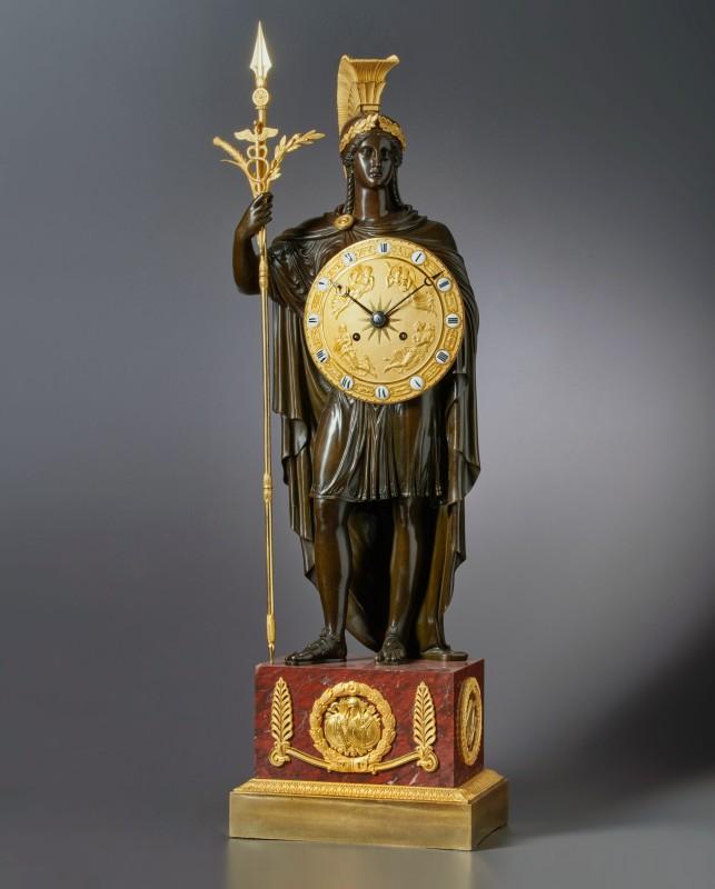 A late Empire mantel Clock representing Pallas Athena attributed to Gérard-Jean Galle , Paris, date circa 1820